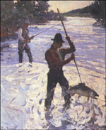 "Gaffing a Salmon, l928. Oil on canvas 43 3/8 "" x 35 3/8"". Private collection."