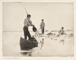 Two Canoes by Frank W. Benson